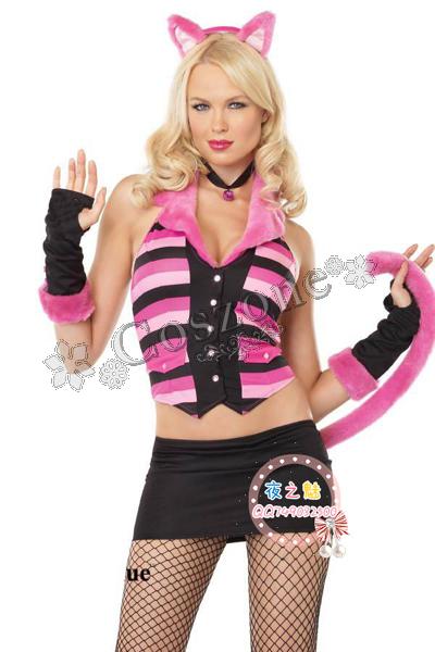 セクシー 可愛い ピンク系 豹柄 キャット 上下セット風のコスチューム